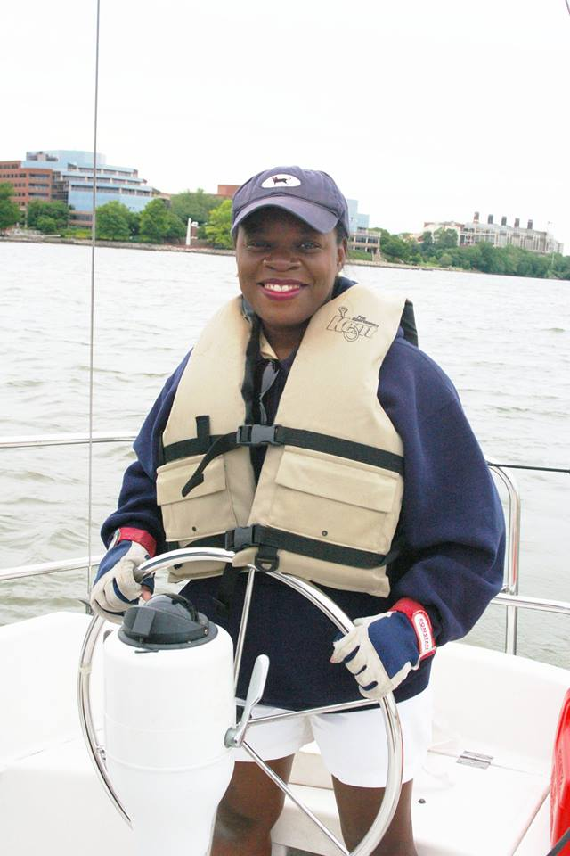 At the helm on Potomac Sail Wendy