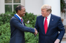 Tiger Woods receives the Presidential Medal of Freedom from President Donald Trump