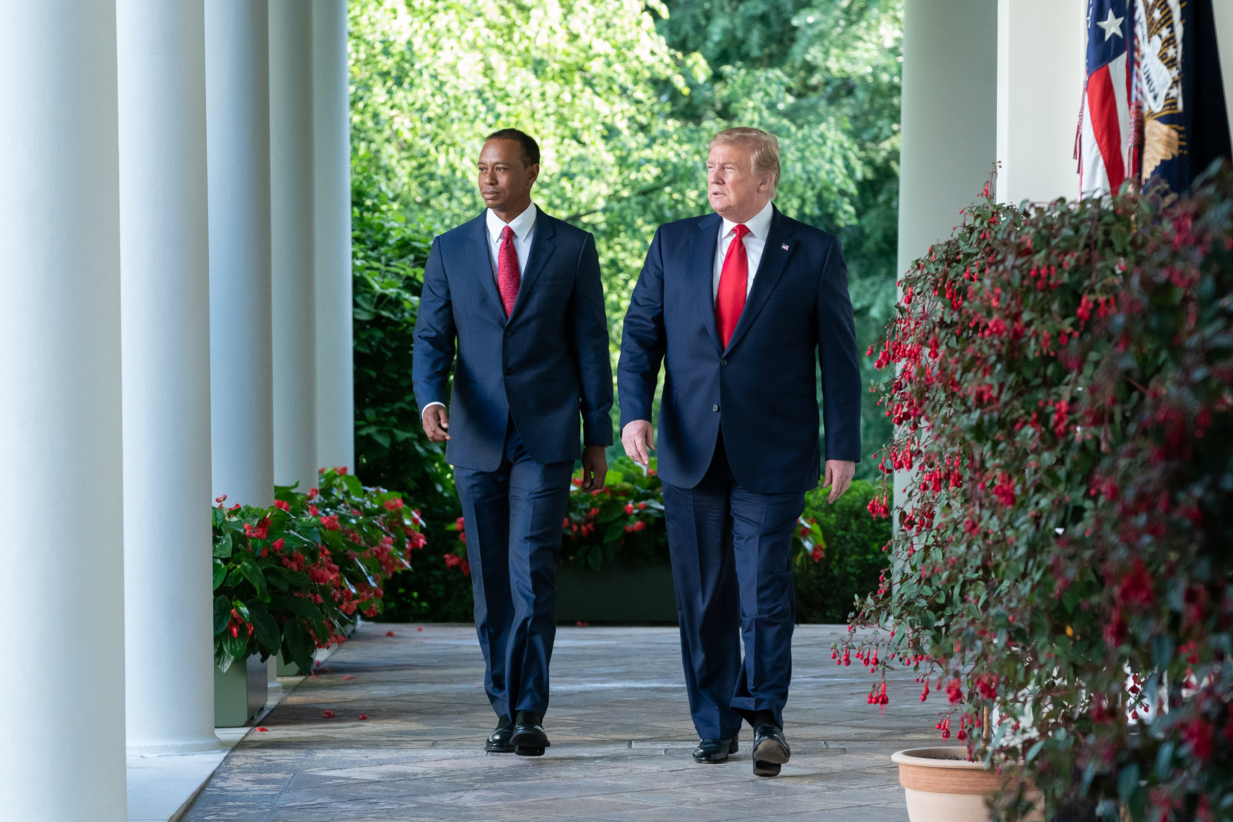 Tiger Woods and President Donald Trump at White House Presidential Medal of Freedom Ceremony